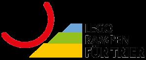 Logo des Legorampen Projektes für Trier mit einem roten Halbkreis der über drei bunte Zeilen rollt.