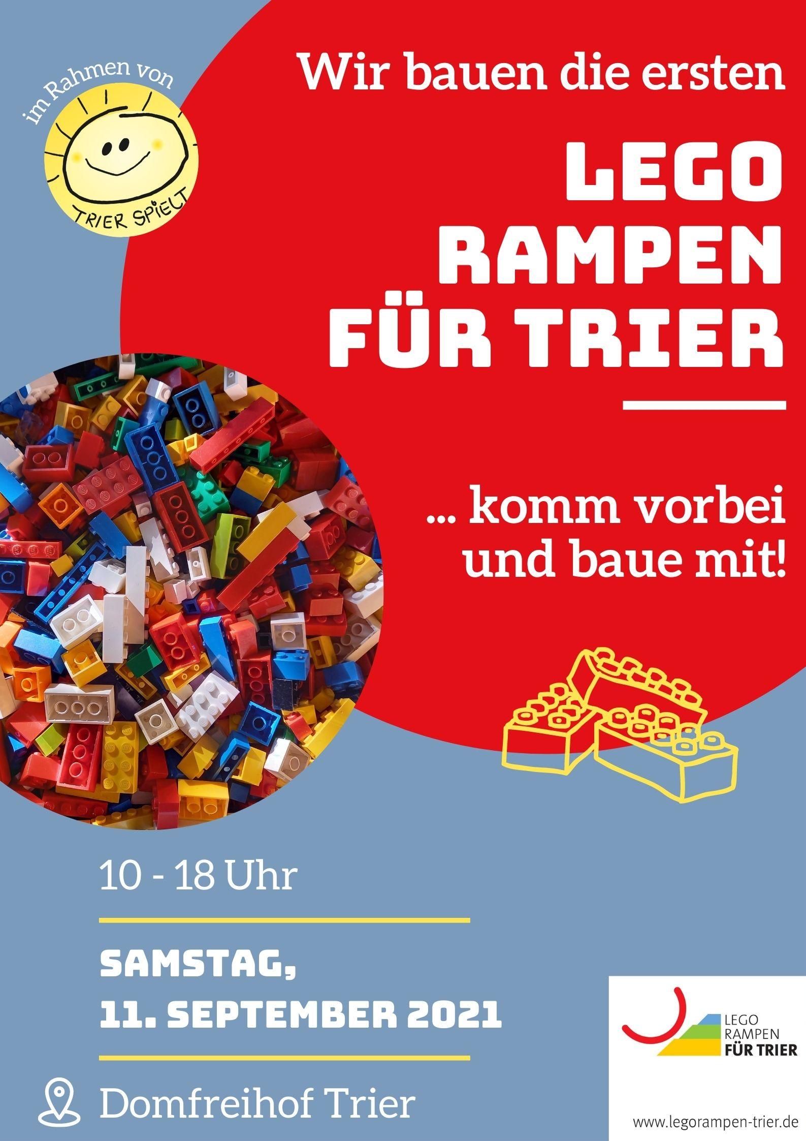 Info-Plakat: Samstag 11. September 2021 sind wir am Domfreihof Trier für einen Bautag im Rahmen von Trier Spielt.